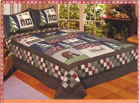 mountain trip full queen quilt set lodge cabin bear