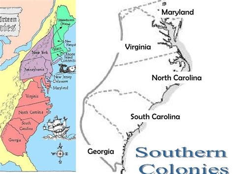 southern colonies map 13 colonies map and regional differences