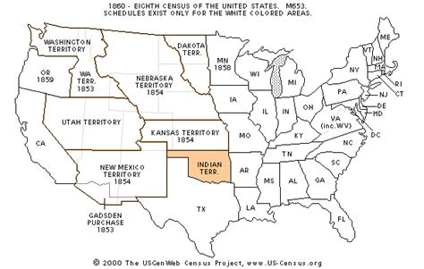 map of us states in 1860 the usgenweb census project