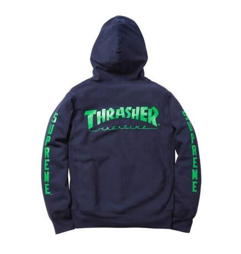 Jaket Hoodie Supreme X Thrasher Grey supreme x thrasher