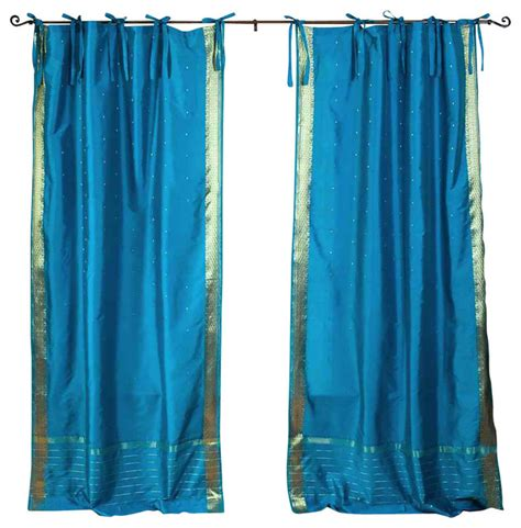 turquoise tab top curtains turquoise tie top sheer sari curtain drape panel pair