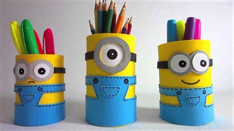 cara membuat kerajinan tangan wadah pensil kreatif yuuk membuat tempat pensil minion youtube