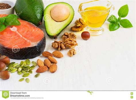 healthy fats source food sources of omega 3 and healthy fats copy space stock