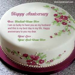 write husband name on cake image for anniversary wishes wishes greeting card
