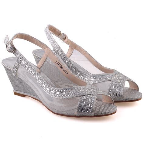 Womens Silver Shoes For Wedding by Unze Womens Shaheny Wedge Wedding Sandals Uk Size 3 8