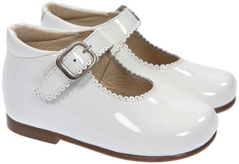 panache toddler high back traditional shoe in white patent