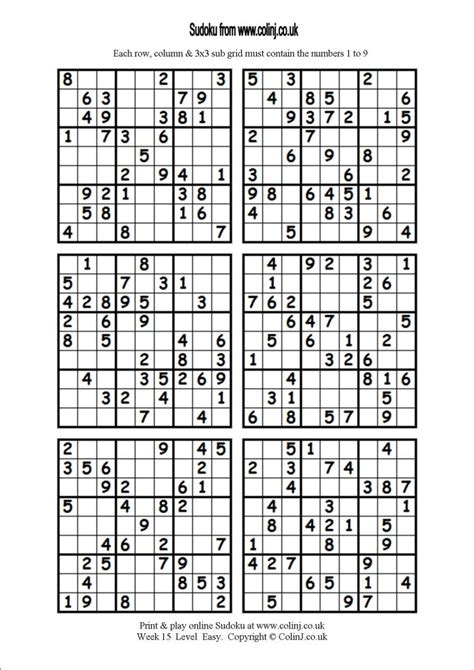 printable sudoku 6 to a page 6 best images of printable sudoku 6 per page printable