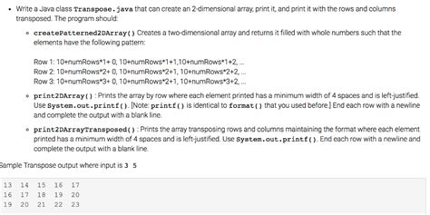 pattern digits java solved write a java class transpose java that can create