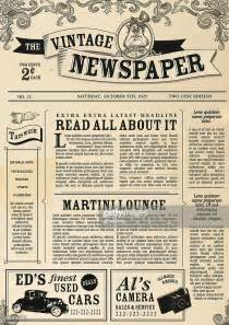 vintage newspaper layout design template vector art