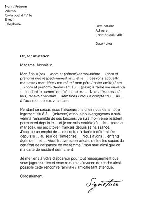 Exemple De Lettre D Invitation Pour Visa Etats Unis Lettre D Invitation Visa Mod 232 Le De Lettre