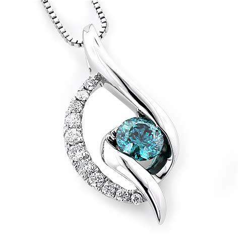 14k white gold blue necklace 035ct la minor