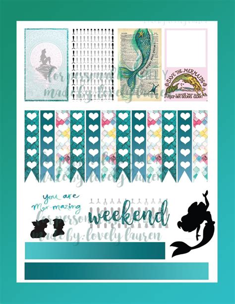 printable mermaid stickers 2x the free printables planner stickers planners and
