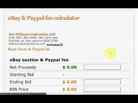 ebay paypal fee calculator ebay paypal fee calculator youtube
