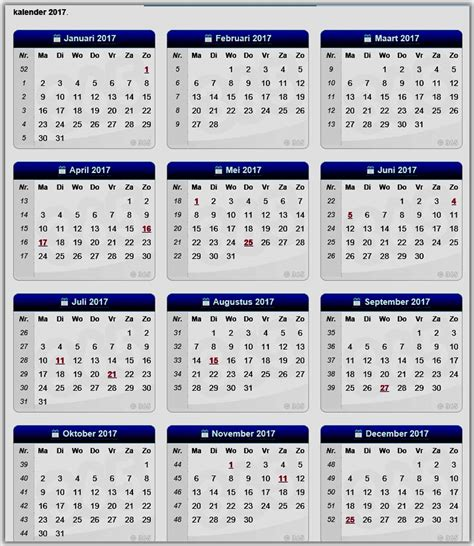 Kalender 2018 Feestdagen En Vakanties Kalenders Verlofperiodes Waterstanden