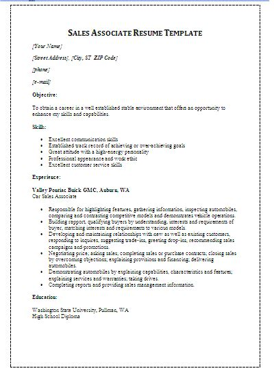 free sales resume template free word s templates