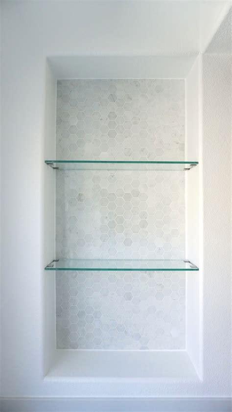 Classic Modern Master Bathroom Update Reveal Bathroom Niche Shelves