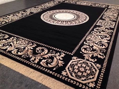 seiden teppich 230x160 versac schwarz medusa rug gold neu