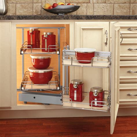Kitchen Cabinet System Rev A Shelf Premiere Quot Blind Corner Kitchen Cabinet System With Maple Shelves With Free