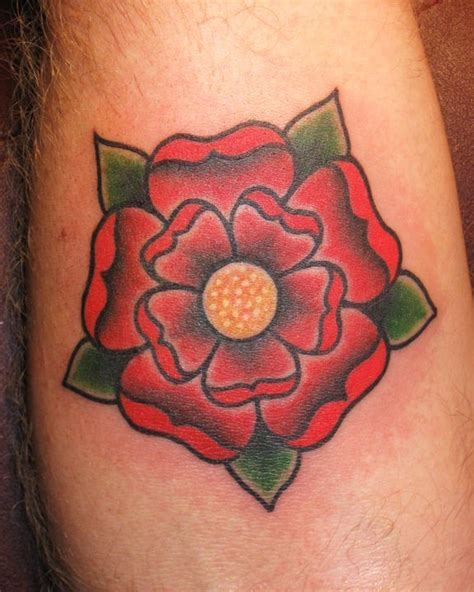 lancashire rose tattoo traditional style tudor crown
