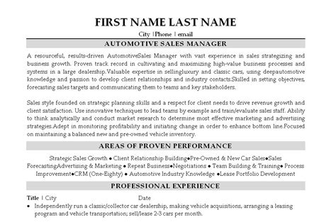 Automotive General Sales Manager Sle Resume by Car Sales Manager Resume Printable Planner Template