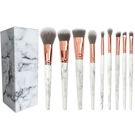 define brush pattern logic x the marble luxe makeup brush set and brush holder pot