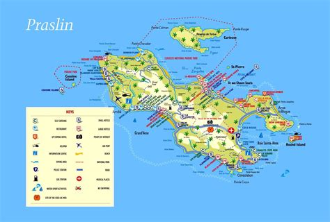 seychelles map large tourist map of praslin island seychelles with all
