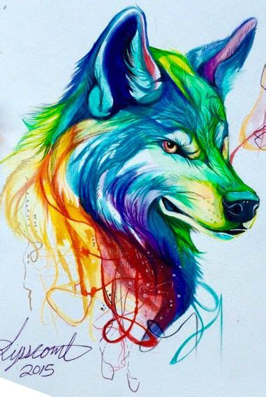 wolf colors wolf painting drawing in rainbow colors painting