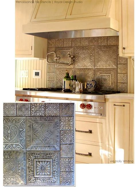 stencil tile backsplash use stencils for custom faux tile looks great diy stencil