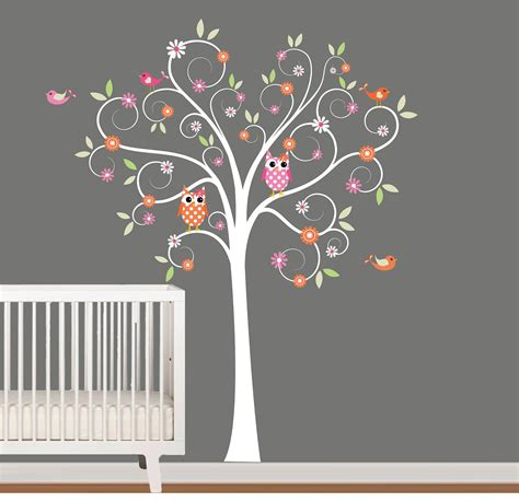 Flower Wall Decals For Nursery with Wall Decals Nursery Tree Decal With Flowers By Nurserywallart