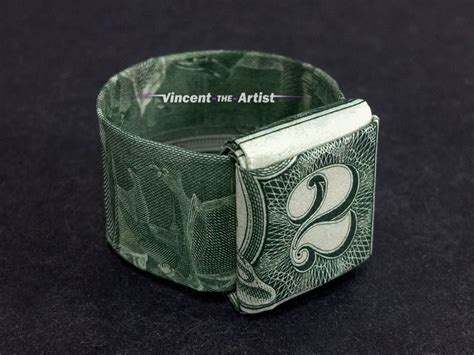How To Make A Origami Dollar Ring - 2 bill money origami ring dollar bill made with