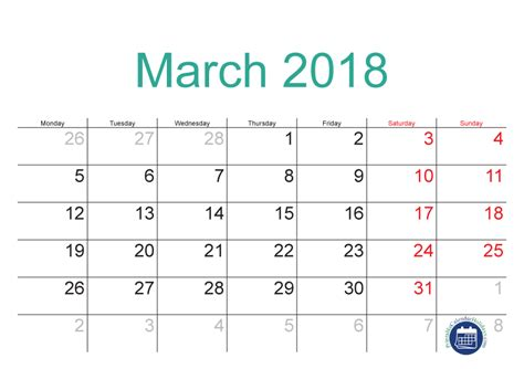 printable calendar 2018 doc march 2018 calendar with holidays calendar doc
