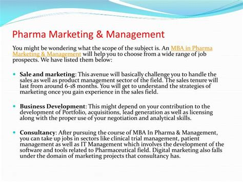 Pharma Mba In Usa by Ppt Study Mba In Pharma Marketing Management For A