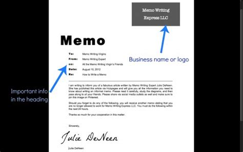 how to write an informal memo