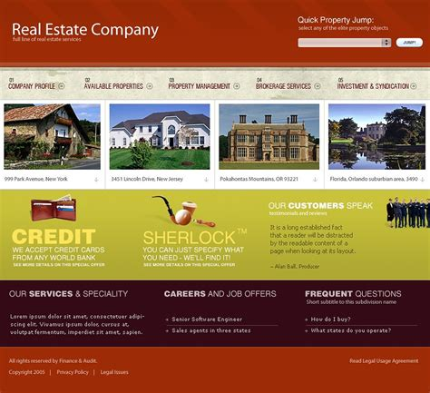 templates for real estate website real estate website template 9696