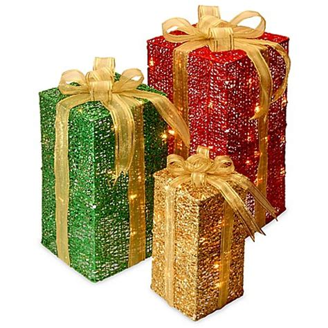 decorative ornament boxes 3 piece sisal gift box decoration set with clear lights