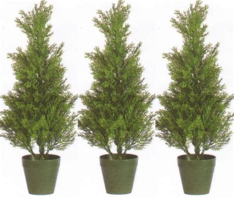 three 2 foot outdoor artificial cedar topiary trees uv