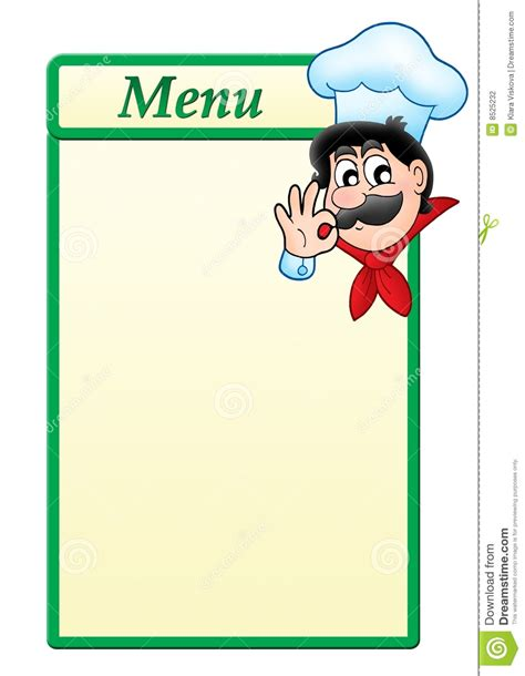 chef templates menu template with chef stock photography image