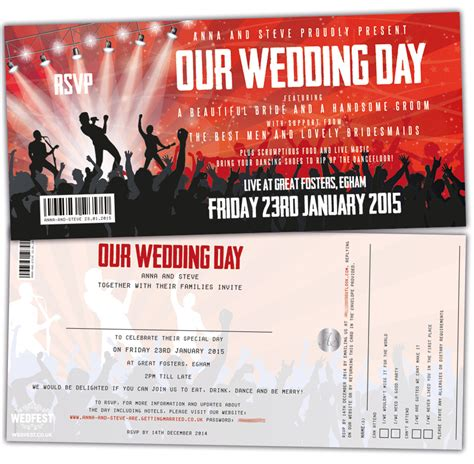 concert ticket invitations template concert ticket wedding invitations wedfest