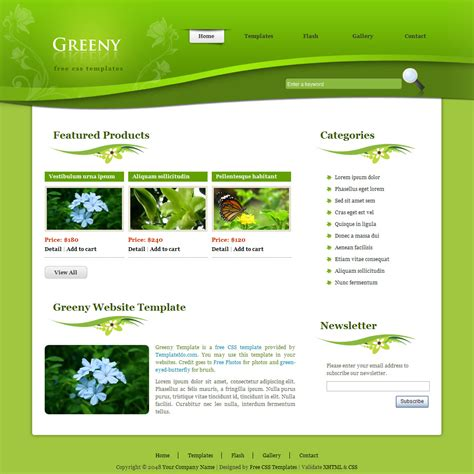 free homepage template template 218 greeny