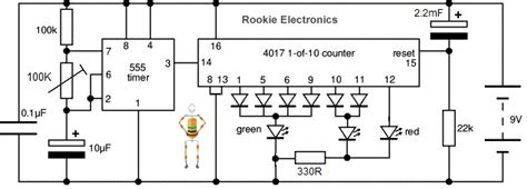 Simple Clock by Traffic Lights Using 4017 Amp 555 Timer Rookie Electronics