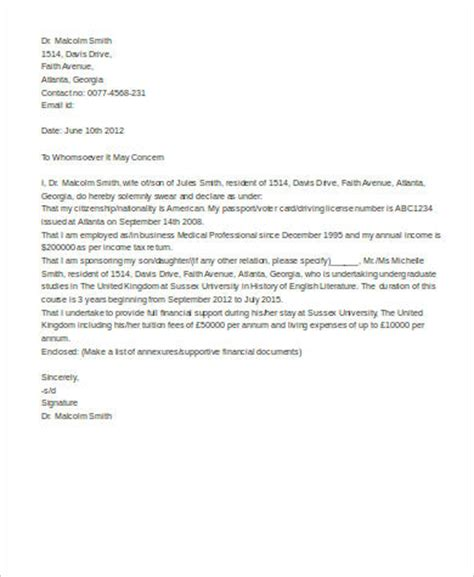 Affidavit Of Support Sle Letter From Employer Sle Affidavit Of Support Letter 8 Exles In Word Pdf