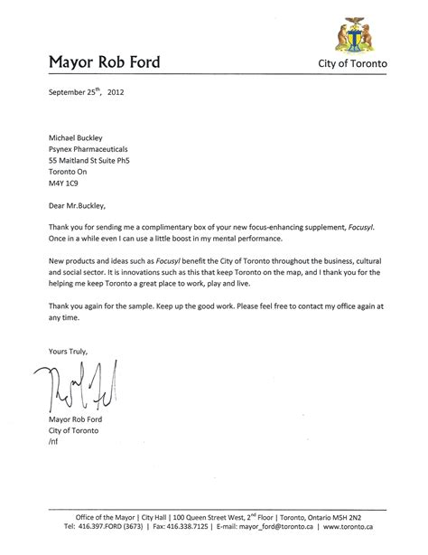 Sle Letter For Product Endorsement Toronto Mayor Responds To Psynex Pr Stunt Marketing Magazine