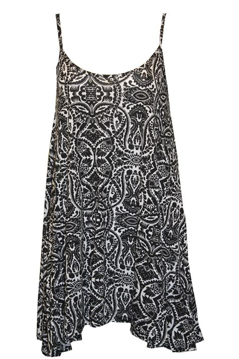 swing vest top cami strappy sleeveless print long swing dress vest tops