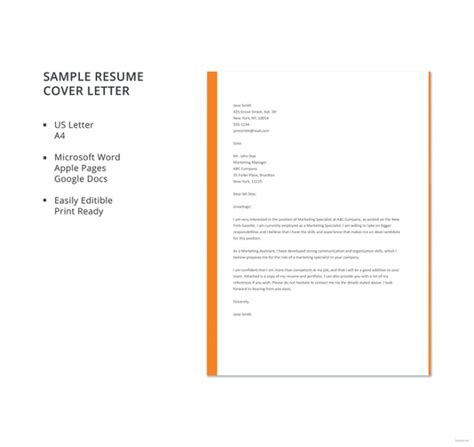 Simple Resume Cover Letter by 51 Simple Cover Letter Templates Pdf Doc Free