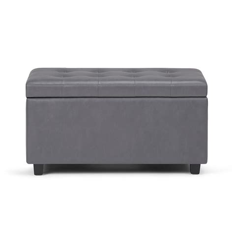 simpli home cosmopolitan grey medium storage ottoman bench ay s 38 g the home depot