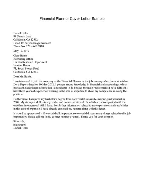 cover letter for financial planner financial advisor cover letter exle cover letter exle