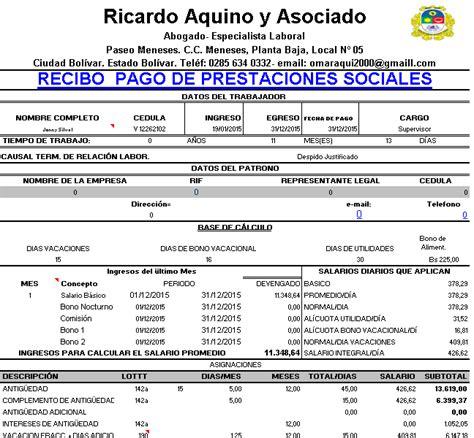calculos de prestaciones sociales liquidacion lottt vigente bsf calculo referencial de prestaciones sociales en venezuela