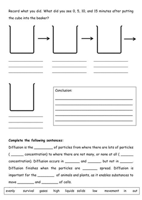 Diffusion And Osmosis Worksheet Middle School by Diffusion Worksheet By Tessbamber Teaching Resources Tes