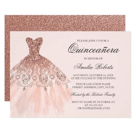 quince invitation templates gold sparkle dress quinceanera invitation zazzle