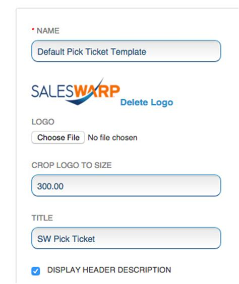 Set Up Warehouse Templates Saleswarp Support Warehouse Ticket Template